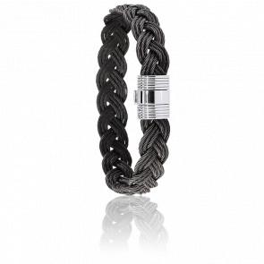 Bracelet 606 Bosco Câble Acier Tressé Noir