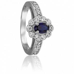 Bague Sarya Or Blanc 18K Diamants & Saphir