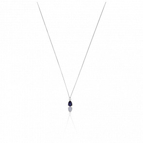 Collier Emily Or Blanc 18K Diamants & Saphir