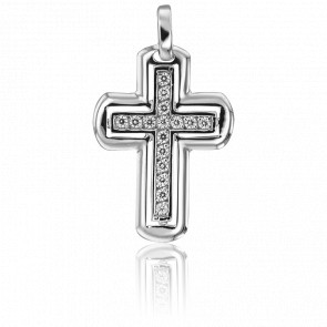Pendentif Croix Carla Or Blanc 18K & Diamants