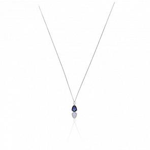 Collier Emilyna Or Blanc 18K Diamants & Saphir