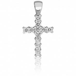 Croix Scintillante Or Blanc 18K