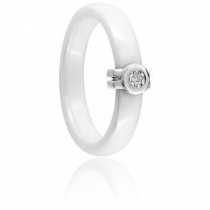 Bague Oeil de Diamant Céramique Blanche
