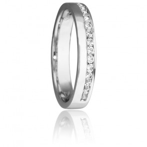 Bague Fil Diamanté 3,5 mm  Or Blanc 18K & Diamants