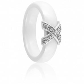 Bague Xavelite Diamantée Légère Blanche - Ultimate Ceramic