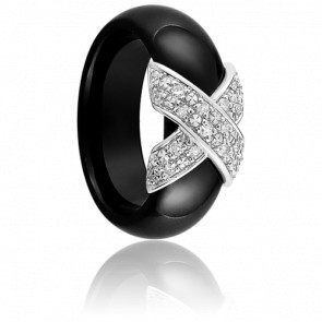 Bague Xavelite Diamantée Noire - Ultimate Ceramic