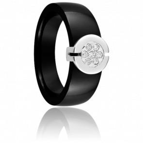Bague céramique 8 mm, or blanc 9K sertie de diamants