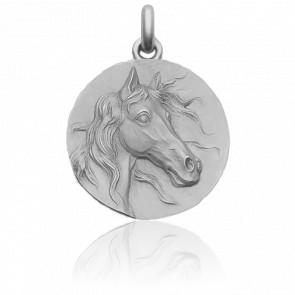 Médaille Le Cheval Or Blanc 18K
