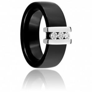 Bague ceramique noire, or blanc et diamants 0,03 carat