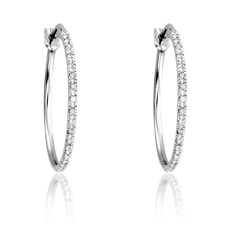 3d30069f3987d Créoles diamants   or blanc 18 carats - Divine - Ocarat