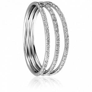 Bague Triple Serti Or Blanc et Diamants