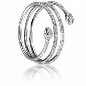 Bague Spirale Serpentée Or Blanc et Diamants