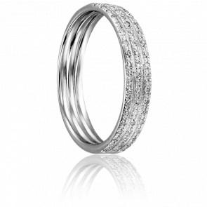 Bague Trois Anneaux Or Blanc et Diamants