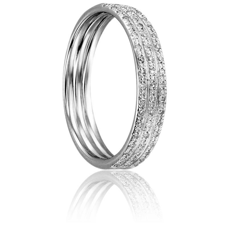 bague trois anneaux or blanc et diamants divine ocarat. Black Bedroom Furniture Sets. Home Design Ideas