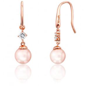 Boucles d'Oreilles Feel Pendantes Vermeil Or Rose & Perle