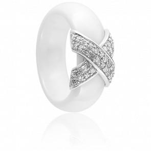 Bague Xavelite Diamantée Blanche - Ultimate Ceramic