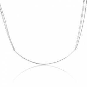 Collier Tube & Chaines Or Blanc