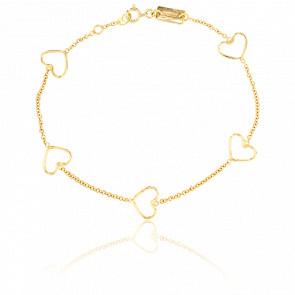 Bracelet Coeurs Evidés Or Jaune
