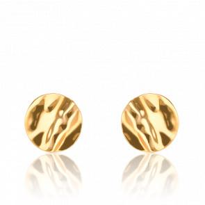 Boucles d'oreilles or jaune 9K, rondes effet froissé
