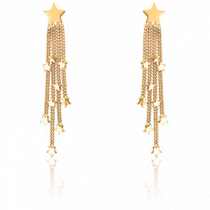Boucles d'oreilles pendantes étoiles, or jaune 9 carats