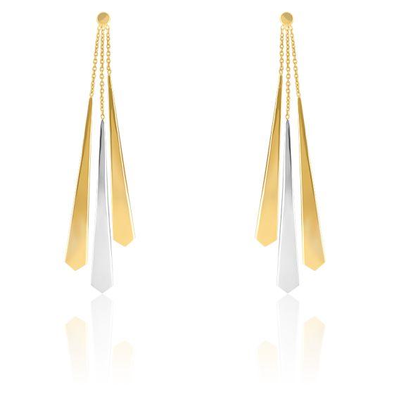 Boucles d'oreilles pendantes cravate bicolore, 2 ors 9 carats