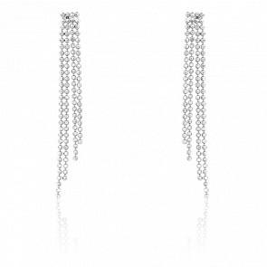 Boucles d'oreilles pendantes, chaînes boules, or blanc 9 carats