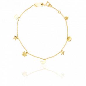 Bracelet Etoile Lune Coeur Or Jaune