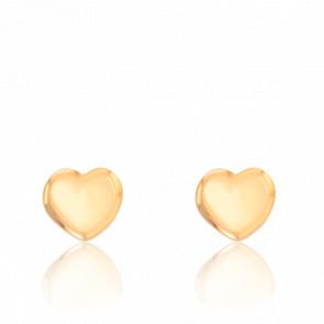 Boucles d'oreilles coeur bombé, or jaune 9 carats