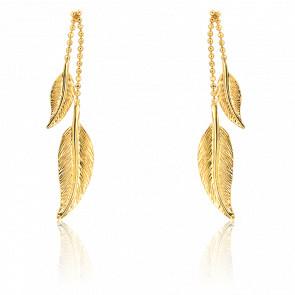 Boucles d'oreilles pendantes, or jaune 9 carats, duo de plumes