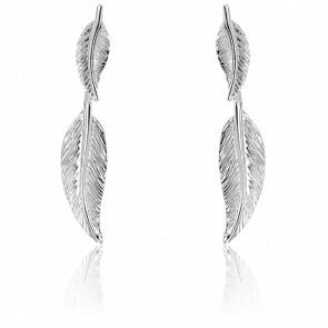 Boucles d'oreilles pendantes, or blanc 9 carats, duo de plumes