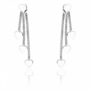 Boucles d'oreilles coeurs pendants, or blanc 9 carats