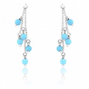 Boucles d'Oreilles Perles Turquoises Or Blanc