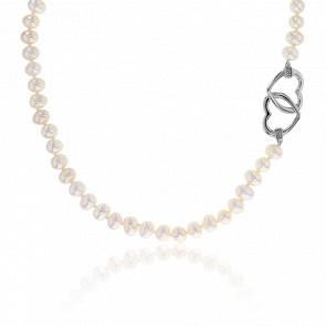 Collier Coeurs Entrelacés Perles & Argent