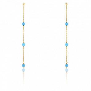 Boucles d'oreilles pendantes, or jaune 9K & perles turquoises