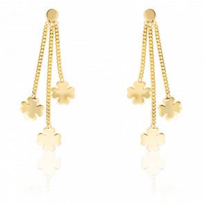 Boucles d'oreilles pendantes trèfles, or jaune 9 carats