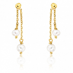 Boucles d'oreilles pendantes duo de perles, or jaune 9 carats
