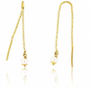 Boucles d'oreilles pendantes, chaîne & perle, or jaune 9K