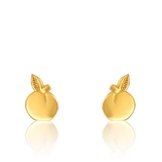 Boucles d'oreilles fantaisie pommes, or jaune 9 carats