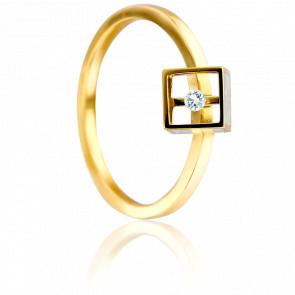 Bague Cube Or Jaune et Diamant 0.03 carat