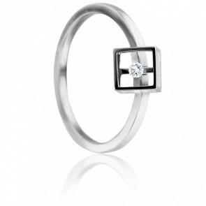 Bague Cube Or Blanc et Diamant 0.03 carat