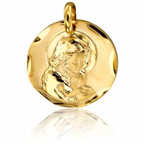 Médaille Ronde Vierge à l'Enfant 18 mm Or Jaune 18K