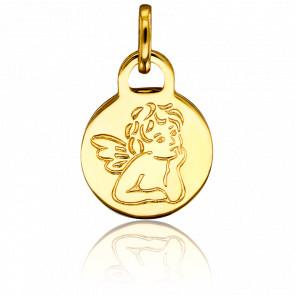 Médaille Ronde Ange Gabriel Or Jaune 18K