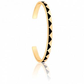 Bracelet Jonc Bollystud Noir Plaqué Or Jaune
