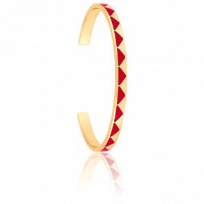 Bracelet Jonc Bollystud Rouge Heureux Plaqué Or Jaune