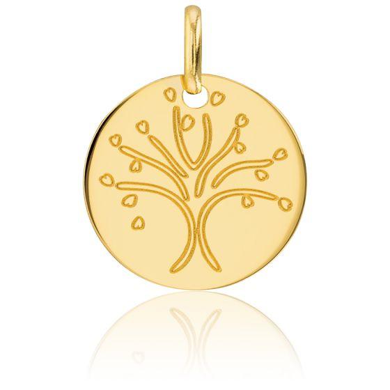 Médaille Arbre de Vie d'Amour Or Jaune 18K