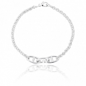 Bracelet Maille Jaseron/Marine 18 cm, Argent massif, 3 mm