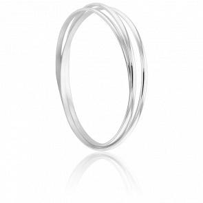 Bracelet 3 Demi-Joncs 3 mm Argent