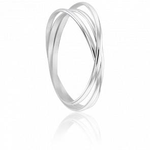 Bracelet 3 Demi-Joncs 4 mm Argent