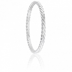Bracelet Jonc Plat Torsadé 5 mm Argent