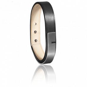 Bracelet U-Turn 11 Cuir Ingrassato Noir